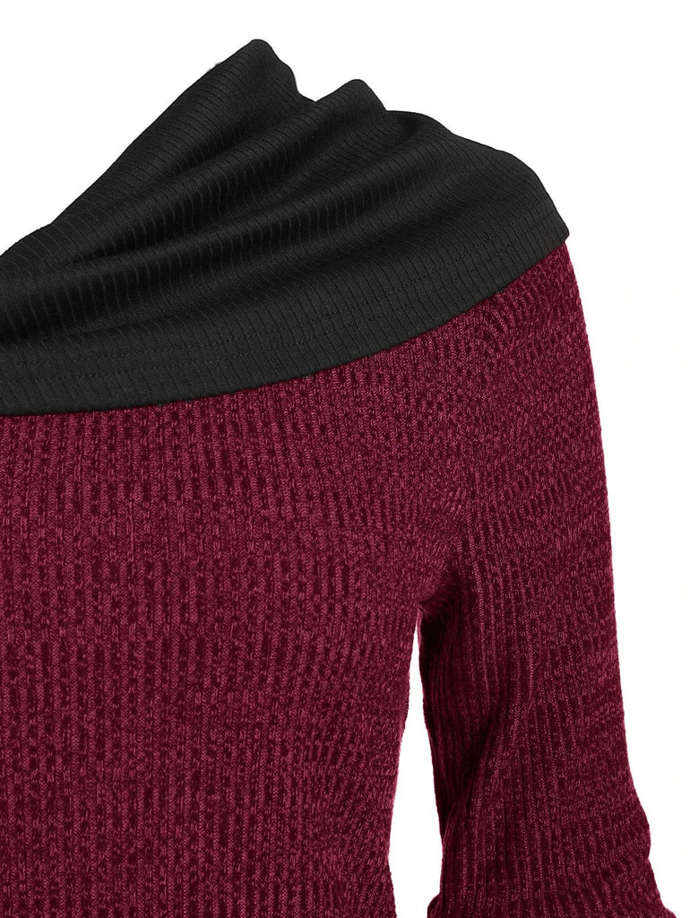 Stacked Collar Irregular Knit Sweater-4color