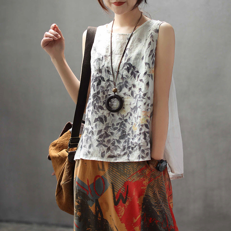 Summer New Loose Linen Printed Casual Vest