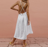 Sexy Backless Sling White Maxi Dresses