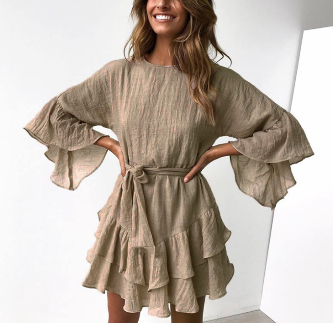 Ruffled laced irregular long sleeved female dress