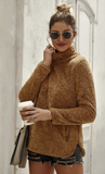 Autumn High-collar Solid Color Fuzzy Sweaters-3color