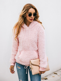 Pocket Solid-color Hooded Fuzzy Sweaters-2color