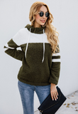 Splicing Tether Plush Hoodie Fuzzy Sweaters-2color