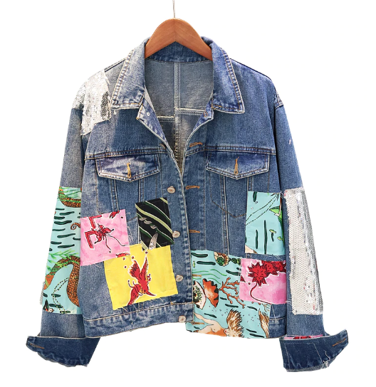 Abstract Doodle Sequined Denim Jacket