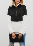 Zip Pocket Lapels Plush Sweatshirt Sweater-8color