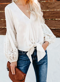 V-neck long-sleeved Loose Knotted Top-5color