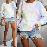 Round Neck Long Sleeve Dyed Sweatshirt