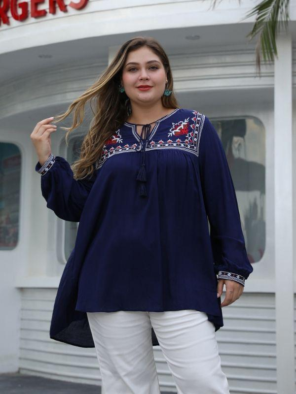 Loose Irregular V Neck Long Sleeve Embroidery Blouse L-4XL
