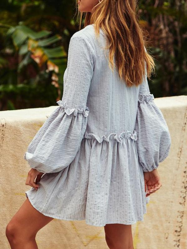 Ruffled Skirt V-neck Puff Sleeve Mini Dress
