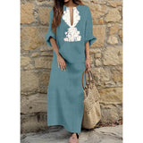 Long sleeved V-neck plain cotton and linen  Boho Maxi Dresses