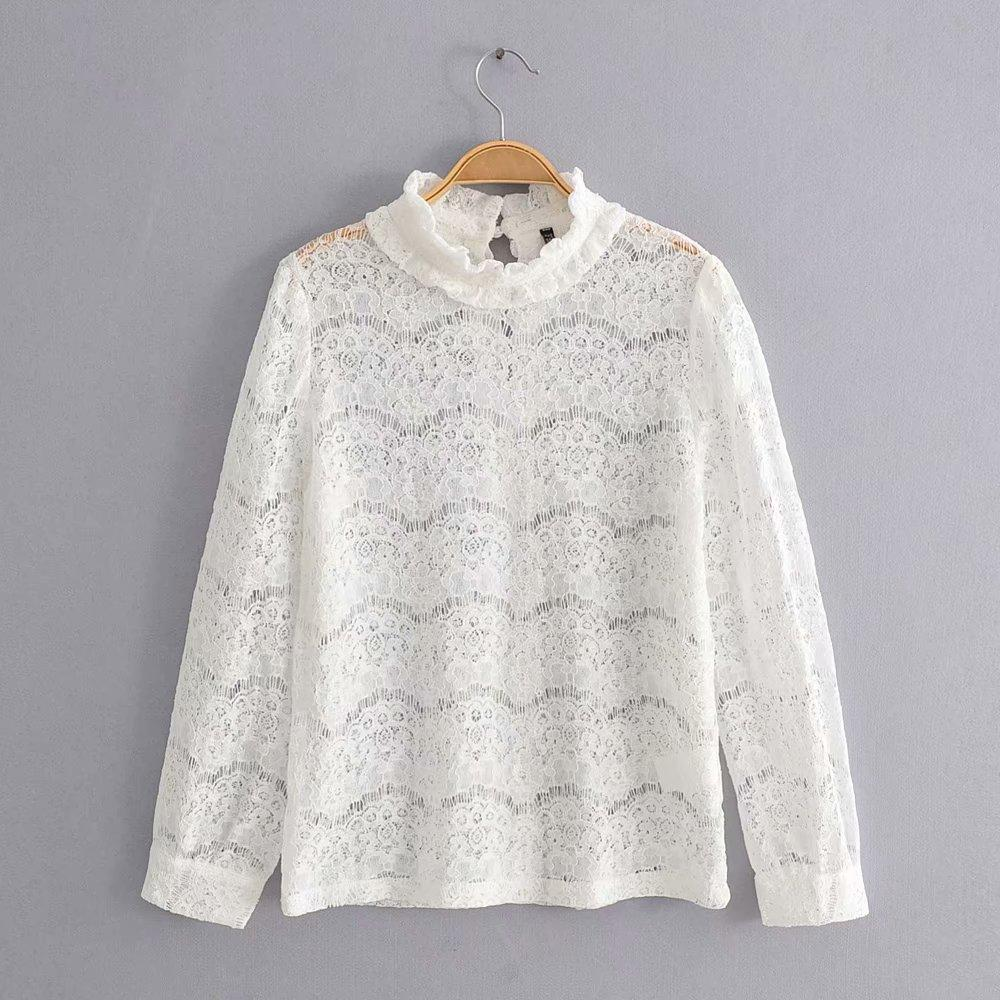 Hollow Stand Collar Long Sleeve Lace Top