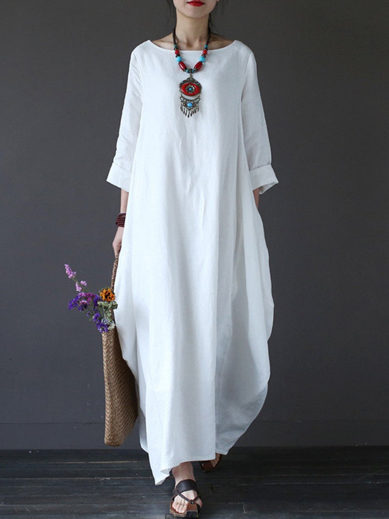 Cotton and linen Round Neck Pocket Plain Maxi Dress