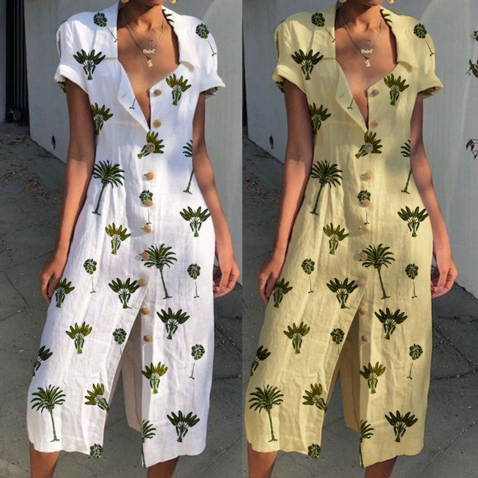 Floral Print Casual Cotton Blend Dresses