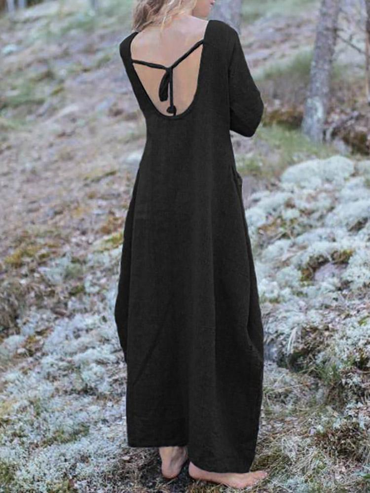Sexy Open Back V Neck Casual Maxi Dresses