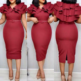 Summer Ruffle Elegant Wine Red Bodycon midi Dress(with belt) S-3XL