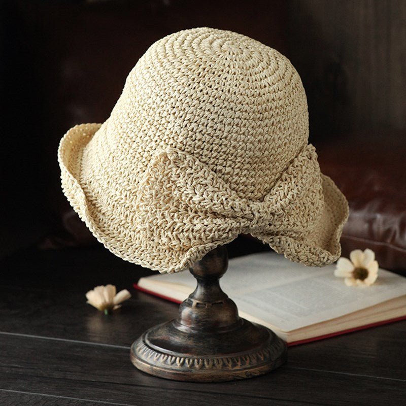 Bow Collapsible Straw Hat Literary Holiday Beach Hat