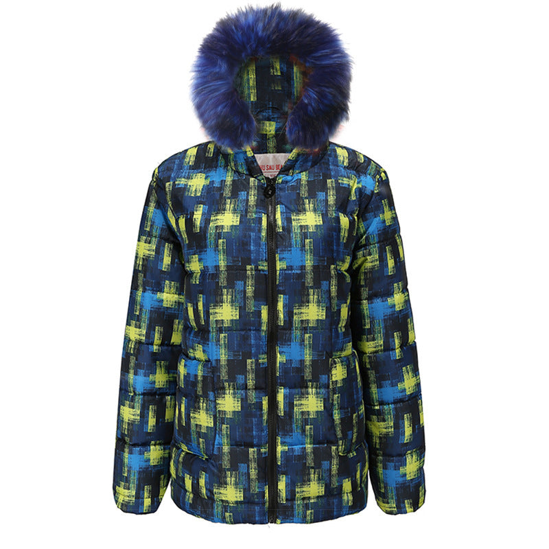 Checkered Fur Collar Down Jacket-5color