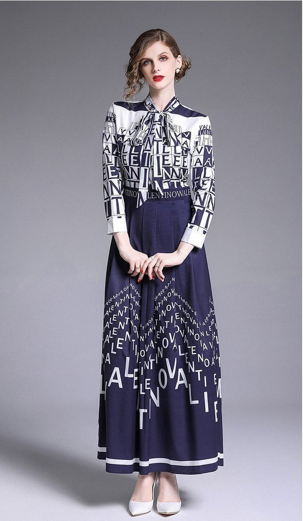 Temperament bow collar print slim maxi dress