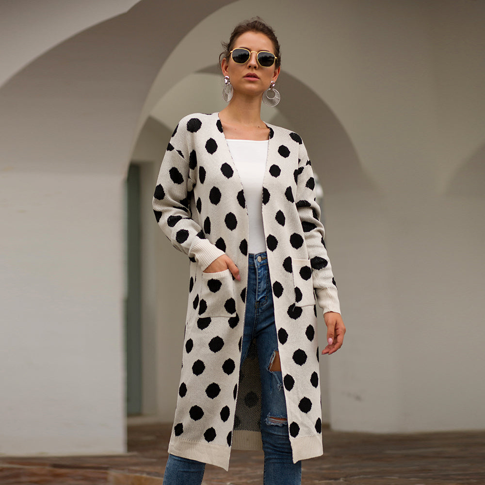 Polka Dot Knitting Light Cardigan Coat