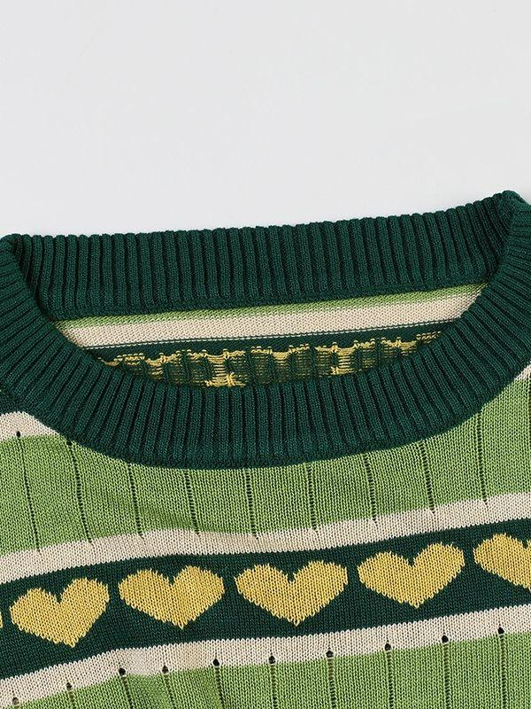 Contrast love embroidery round neck green knit top