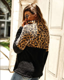 Autumn Black Leopard Stitching Zip Fuzzy Sweaters