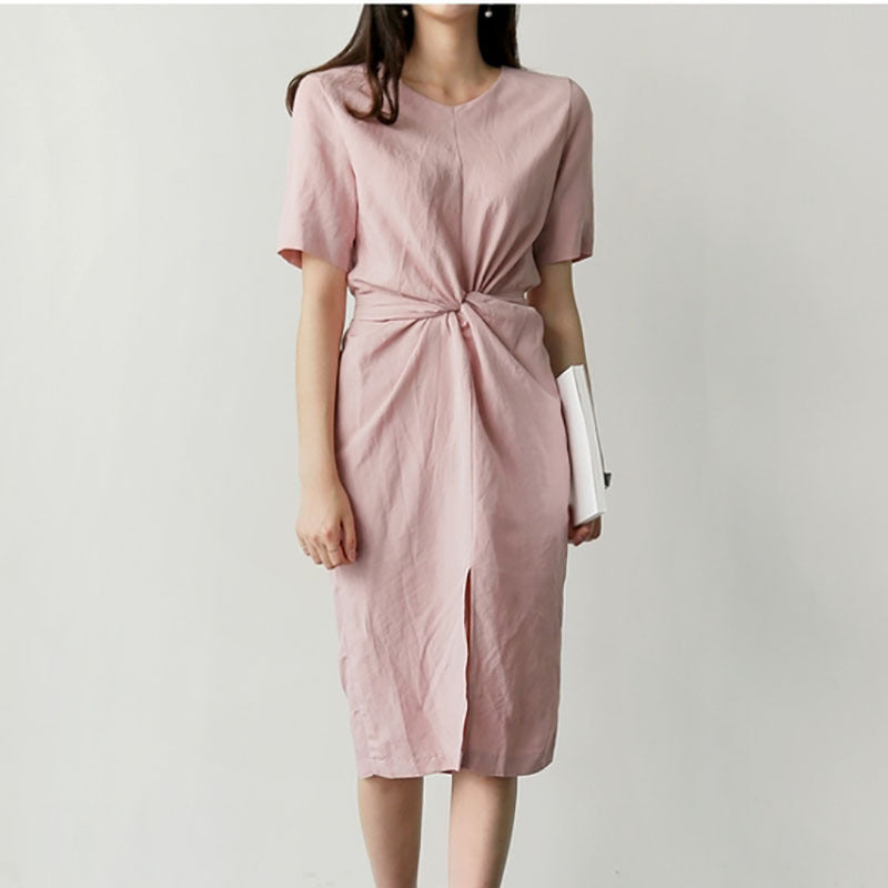 Retro Waist Split Cotton Dress
