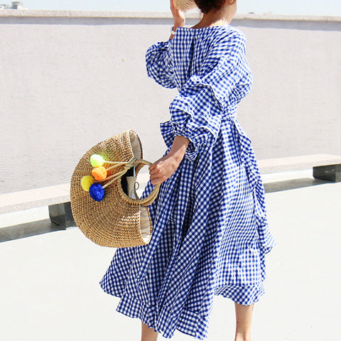V-neck Pleated Lantern Sleeve Plaid Dress