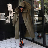 Hooded Army Green Loose Large Size Fashion Casual Coat