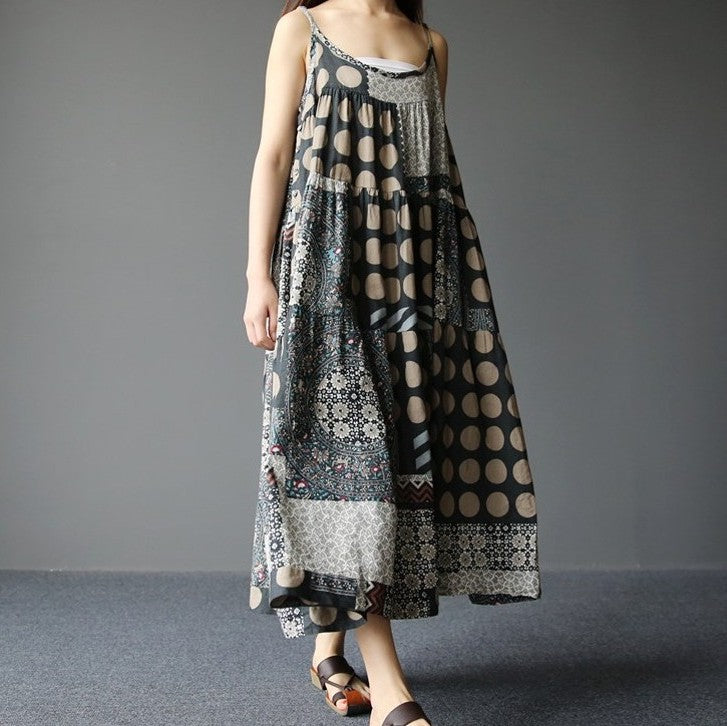 Cotton and Linen Print Dress