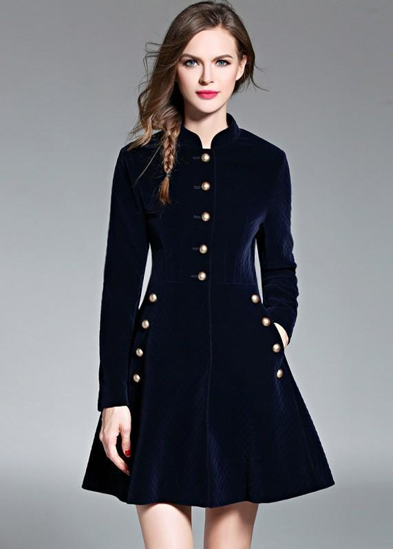 Retro Autumn Long Sleeve Slim A-Line Jacket Dress