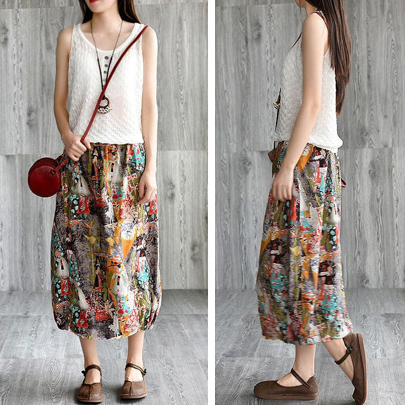 Elastic Waist Printed Cotton Linen Skirt