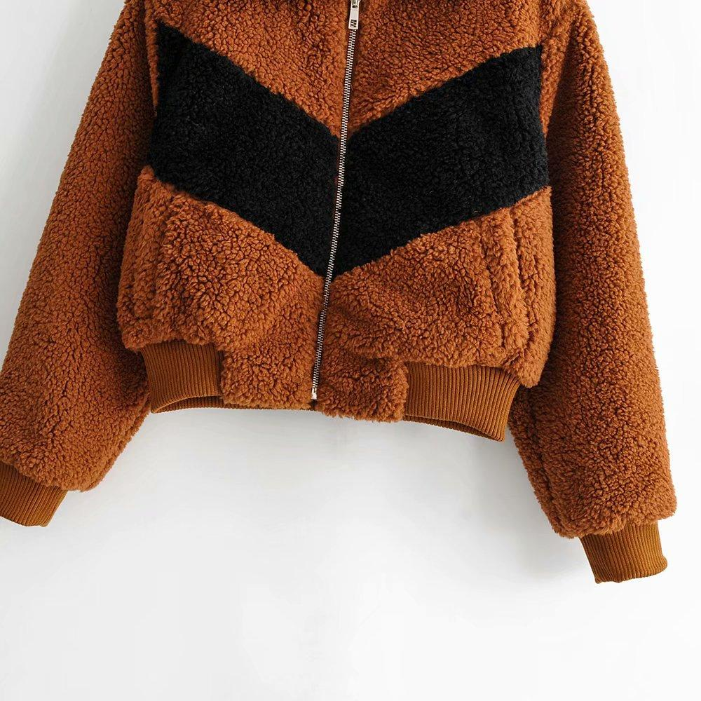 Plush Colorblock Jacket Teddy Coat