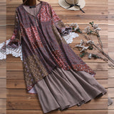 Floral Print Cotton Linen Maxi Dress