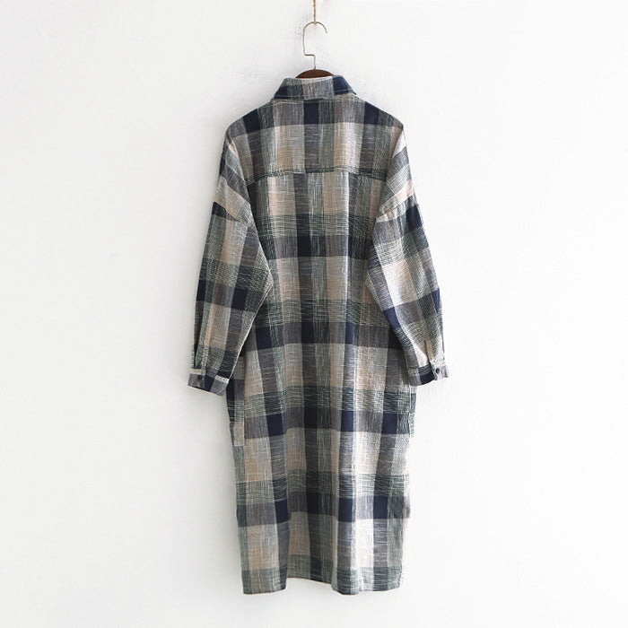 Lapel Loose Long Coat Cotton Linen Plaid Shirt
