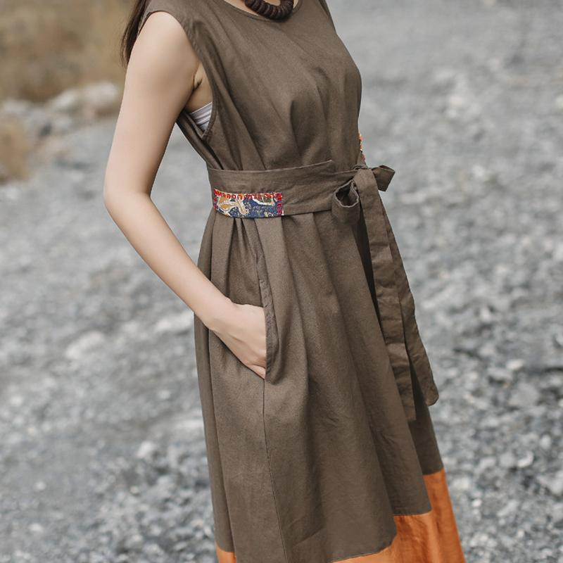 Women Vintage Solid Color Casual Sleeveless Dress