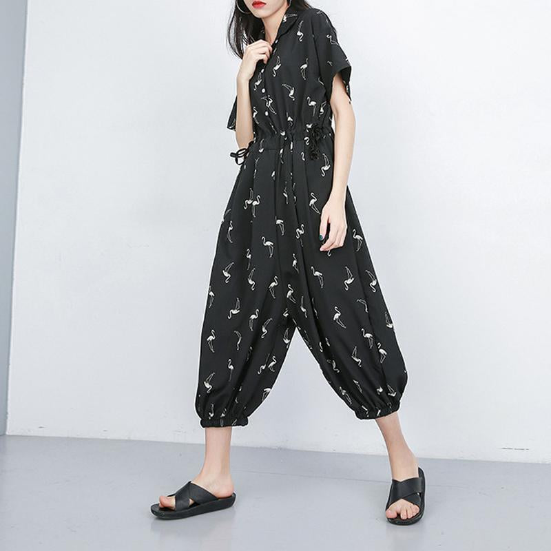 Women Casual Short Sleeve Printed Jumpsuit