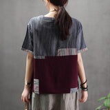 Linen Spliced Patch Designs Short Sleeve Blouse