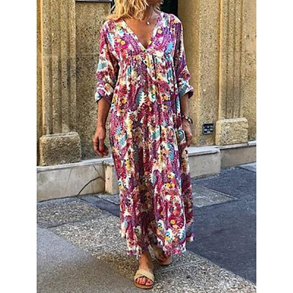 Casual Floral Print Pullover Dress