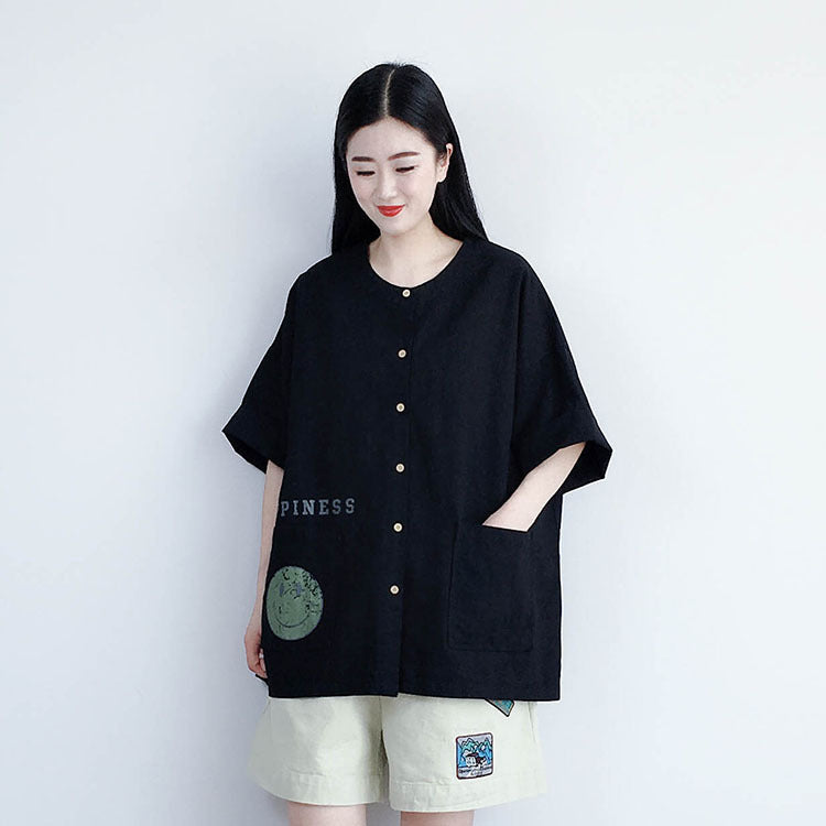 Casual Letter Print Buttons Short Sleeve Shirt Coat
