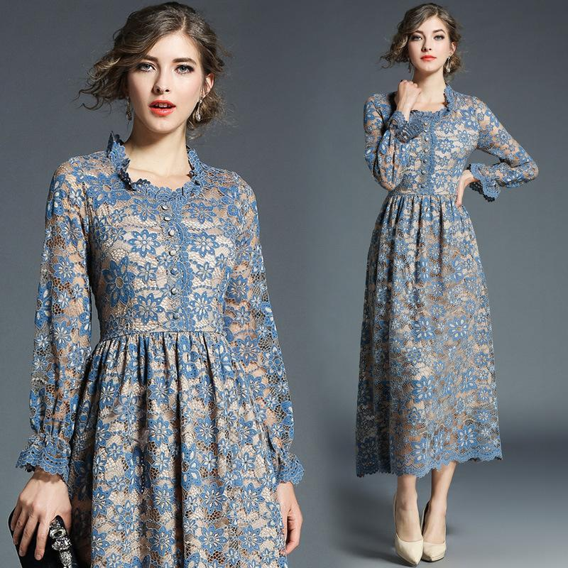 Retro Vintage Lace Slim Fashion Long Dress