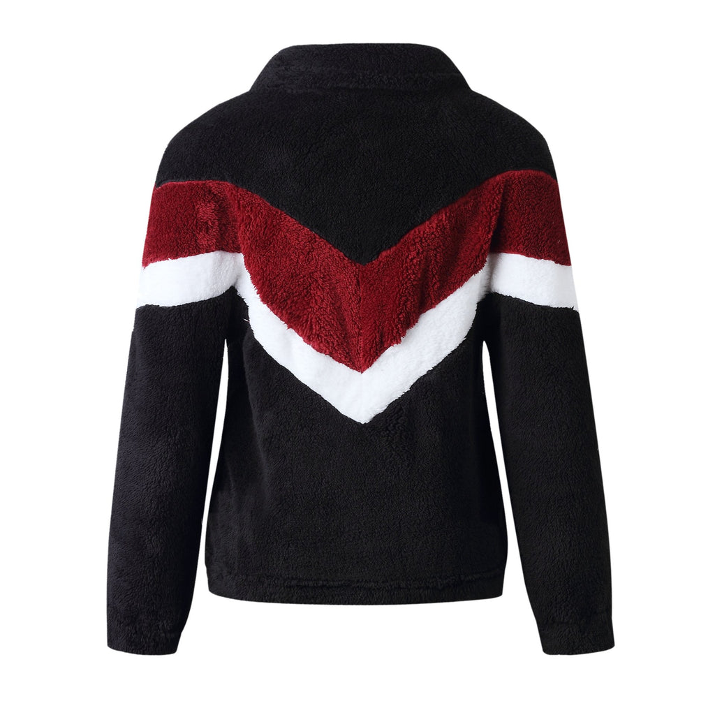 Fashion Pocket Zipper Sweatshirt Fuzzy Sweaters-5color