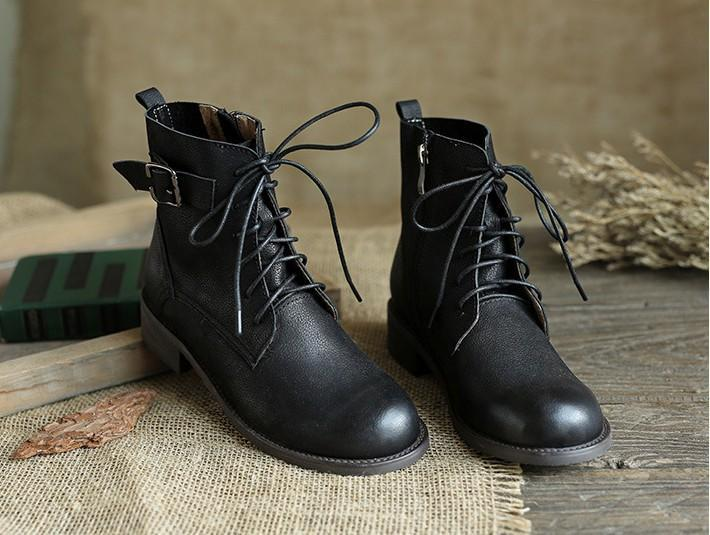 Middle tube layer leather Martin boots_black