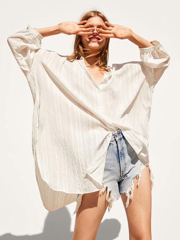 Ruffled Striped Long Sleeve Blouses&Shirts