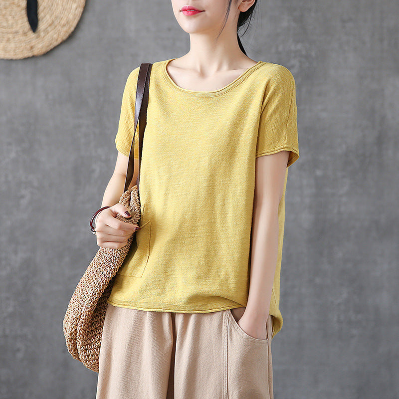 Summer Casual Yellow Solid Color Blouses