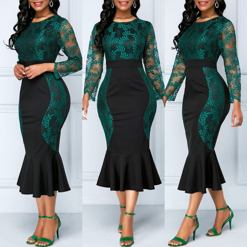 Elegant Mermaid Dress Long Sleeve Lace Maxi Dresses S-5XL