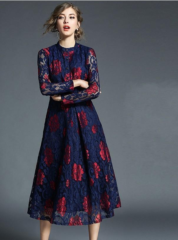 Long Sleeved Slim Fashion Versatile Lace Midi Dress