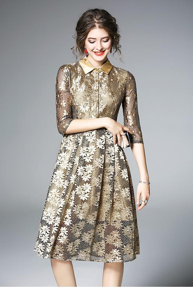 Lapel Lace Embroidered Sequined A-line Fashion Dress
