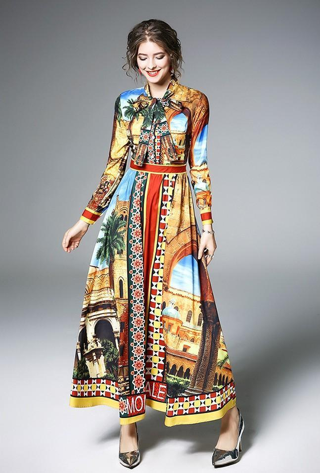 Long-sleeved Fashion Print Long Dress