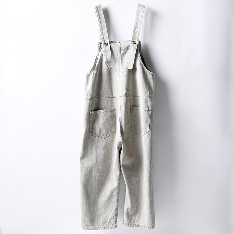 Vintage Printed Frayed Loose Casual Jumpsuit