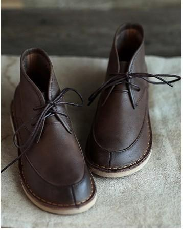 Leather retro soft ankle boots_coffee